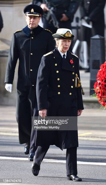 Prince Edward, Earl of Wessex and Princess Anne, Princess Royal attend the National Service of Remembrance at The Cenotaph on November 8, 2020 in...