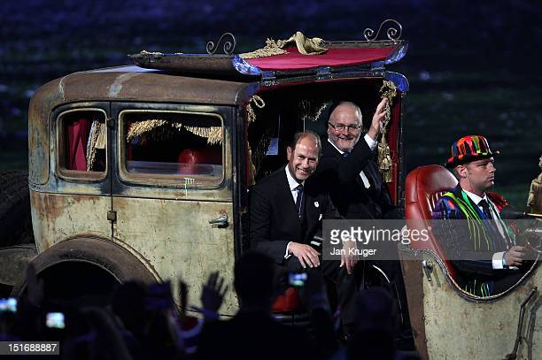 Prince Edward Earl of Wessex and Sir Philip Craven the President of the International Paralympic Committee arrive at the Olympic Stadium during the...