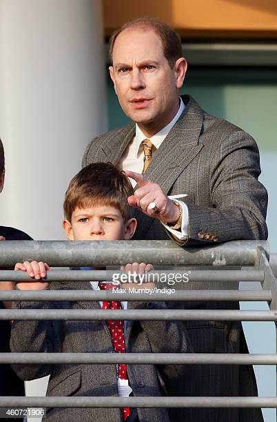 Prince Edward Earl of Wessex and son James Viscount Severn attend the Christmas Meeting at Ascot Racecourse on December 20 2014 in Ascot England