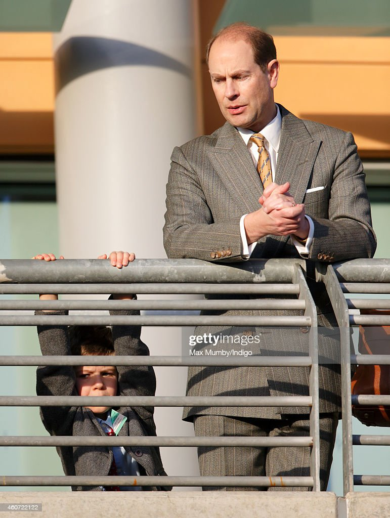 Prince Edward, Earl of Wessex and son James, Viscount Severn attend the Christmas Meeting at Ascot Racecourse on December 20, 2014 in Ascot, England.