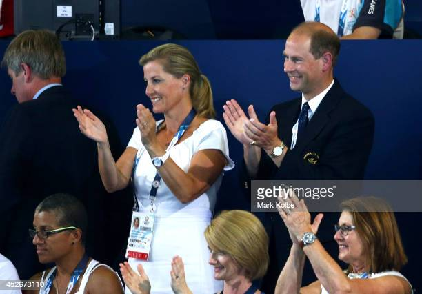 Prince Edward Earl of Wessex and Sophie Countess of Wessex applaud as they attend the evening session at Tollcross International Swimming Centre...