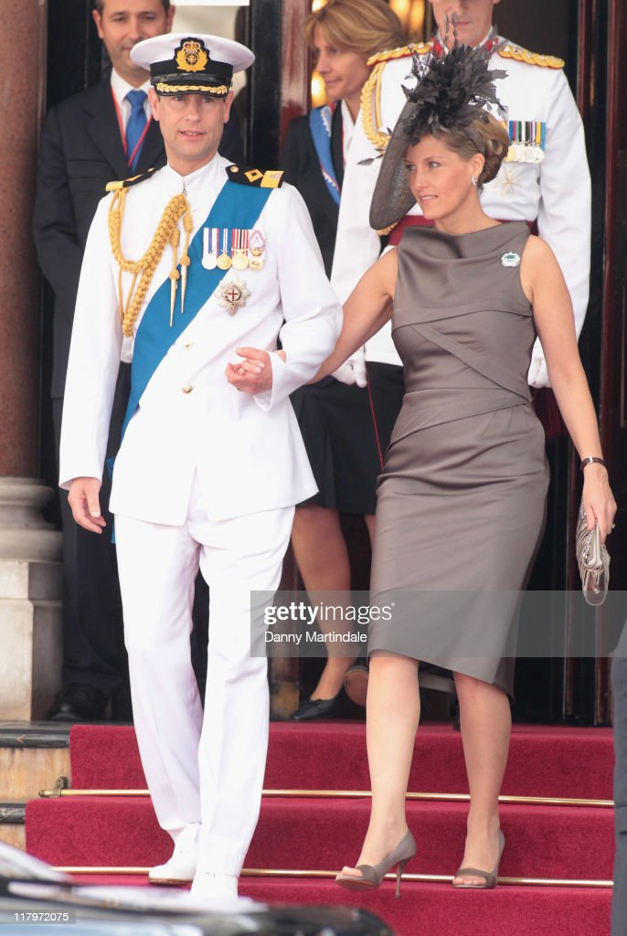 Prince Edward, Earl of Wessex and Sophie, Countess of Wessex are seen leaving the Hotol de Paris to attend the religious ceremony of the Royal Wedding of Prince Albert II of Monaco to Charlene Wittstock in the main courtyard at on July 2, 2011 in Monaco, Monaco.