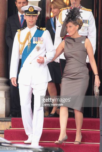 Prince Edward Earl of Wessex and Sophie Countess of Wessex are seen leaving the Hotol de Paris to attend the religious ceremony of the Royal Wedding...
