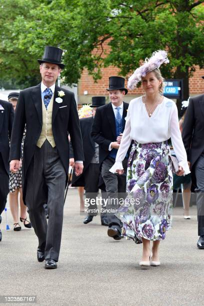 Prince Edward, Earl of Wessex and Sophie, Countess of Wessex arrive at Royal Ascot 2021 at Ascot Racecourse on June 16, 2021 in Ascot, England.