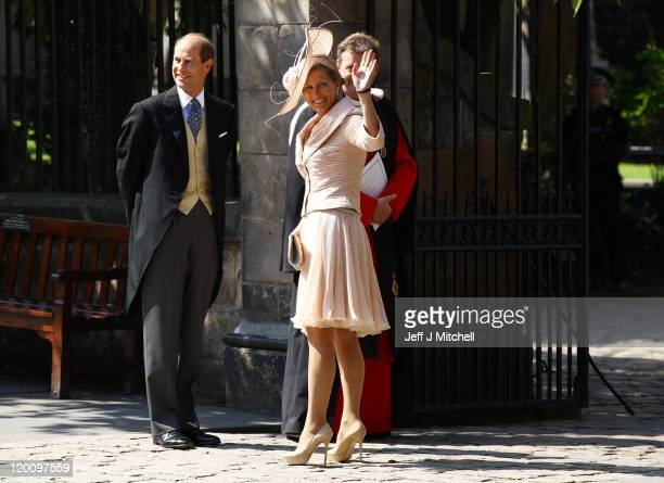 Prince Edward, Earl of Wessex and Sophie, Countess of Wessex arrive for the Royal wedding of Zara Phillips and Mike Tindall at Canongate Kirk on July...