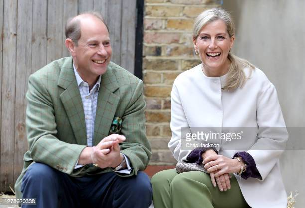 Prince Edward, Earl of Wessex and Sophie, Countess of Wessex at Vauxhall City Farm on October 01, 2020 in London, England. Their Royal Highnesses see...