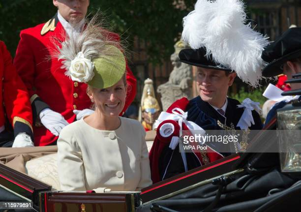 Prince Edward Earl of Wessex and Sophie Countess of Wessex attend the annual Order of the Garter Service at St George's Chapel Windsor Castle on June...