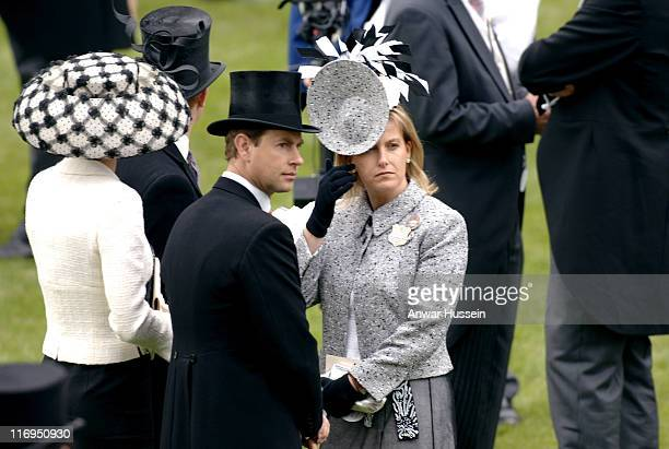 Prince Edward Earl of Wessex and Sophie Countess of Wessex attend the first day of Royal Ascot 2005 at York Racecourse in York England on June 14...