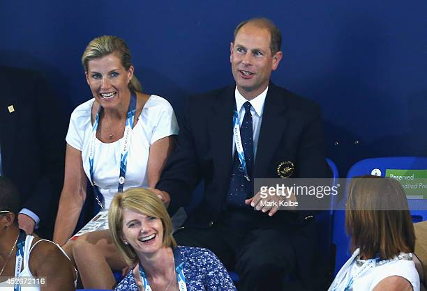 Prince Edward Earl of Wessex and Sophie Countess of Wessex attend the evening session at Tollcross International Swimming Centre during day two of...