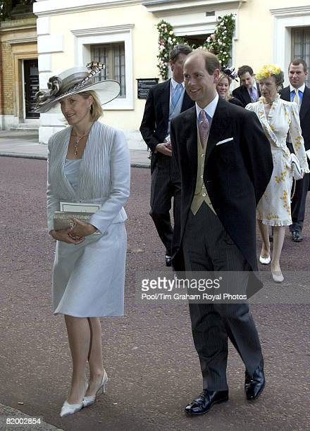 Prince Edward Earl of Wessex and Sophie Countess of Wessex attend the wedding of Lady Rose Windsor and George Gilman at the Queen's Chapel near St...