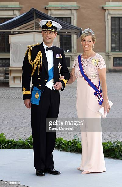 Prince Edward Earl of Wessex and Sophie Countess of Wessex depart from the wedding ceremony of Princess Madeleine of Sweden and Christopher O'Neill...