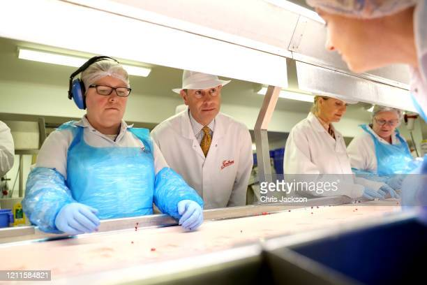 Prince Edward Earl of Wessex and Sophie Countess of Wessex during a visit to Tiptree Jam Factory on March 10 2020 in Tiptree United Kingdom The Earl...