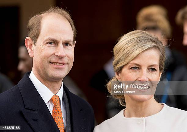 Prince Edward, Earl of Wessex and Sophie, Countess of Wessex during a visit to St Anselms Church on the occasion of the Countess' 50th birthday on...