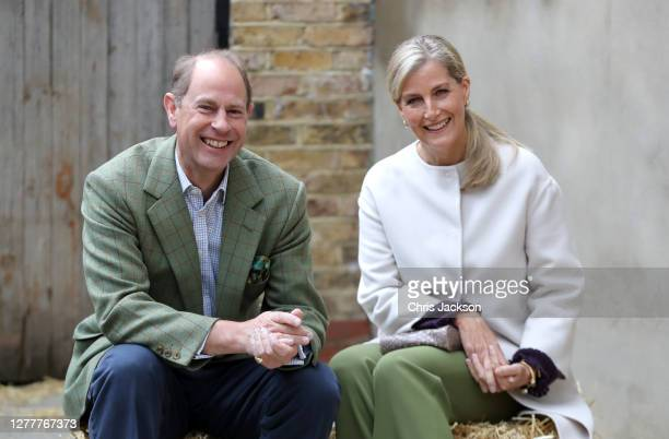 Prince Edward, Earl of Wessex and Sophie, Countess of Wessex during their visit to Vauxhall City Farm on October 01, 2020 in London, England. Their...