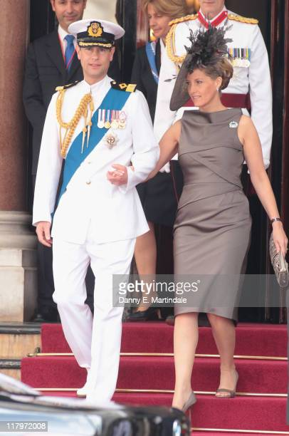 Prince Edward Earl of Wessex and Sophie Countess of Wessex is seen leaving the Hotol de Paris to attend the religious ceremony of the Royal Wedding...