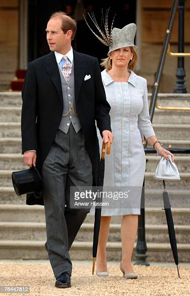 Prince Edward Earl of Wessex and Sophie Countess of Wessex pregnant with her second child attend a Garden Party at Buckingham Palace on July 17 2007...