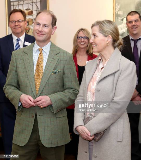 Prince Edward Earl of Wessex and Sophie Countess of Wessex smile during their visit to Tiptree Jam Factory on March 10 2020 in Tiptree United Kingdom...