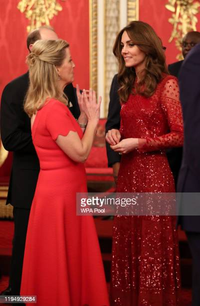 Prince Edward, Earl of Wessex and Sophie, Countess of Wessex speak to Catherine, Duchess of Cambridge during a reception to mark the UK-Africa...