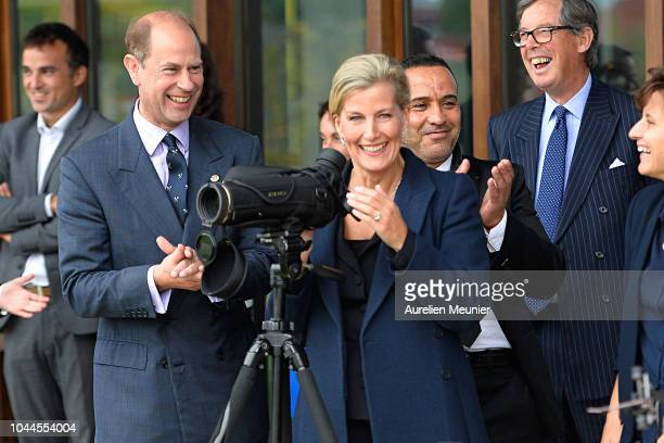 Prince Edward Earl Of Wessex and Sophie Countess Of Wessex trie archery as they visit INSEP on October 2 2018 in Paris France Prince Edward Earl Of...