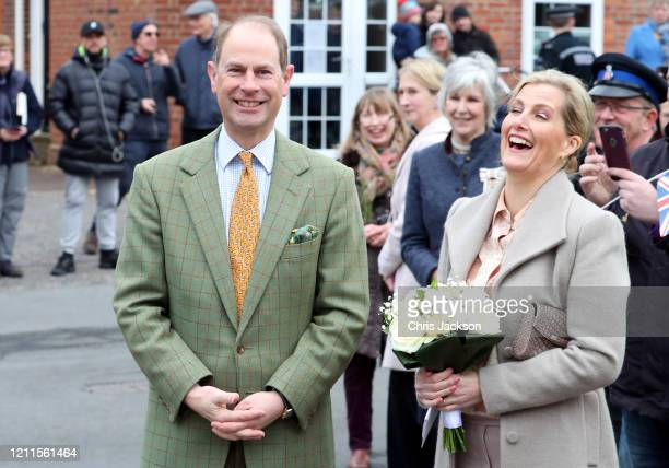 Prince Edward Earl of Wessex and Sophie Countess of Wessex visit a local community centre on March 10 2020 in Mersea Island United Kingdom The Earl...