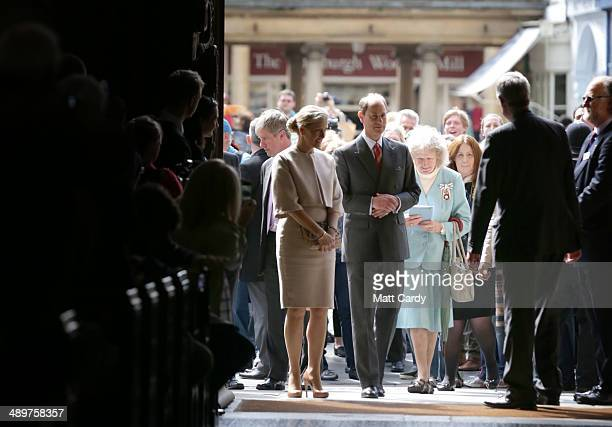 Prince Edward Earl of Wessex and Sophie Countess of Wessex walk in from the Abbey Courtyard during an official visit to Bath Abbey on May 12 2014 in...