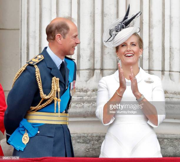 Prince Edward Earl of Wessex and Sophie Countess of Wessex watch a flypast to mark the centenary of the Royal Air Force from the balcony of...