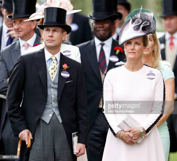 Prince Edward Earl of Wessex and Sophie Countess of Wessex watch The Queen's horse 'Fabricate' run in the Wolferton Stakes on day 1 of Royal Ascot at...
