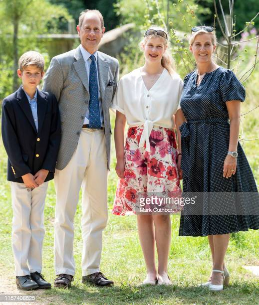 Prince Edward, Earl of Wessex and Sophie, Countess of Wessex with James Viscount Severn and Lady Louise Windsor during a visit to The Wild Place...