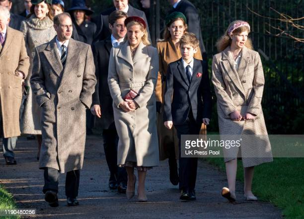 Prince Edward Earl of Wessex and Sophie Countess of Wessex with James Viscount Severn and Lady Louise Windsor attend the Christmas Day Church service...