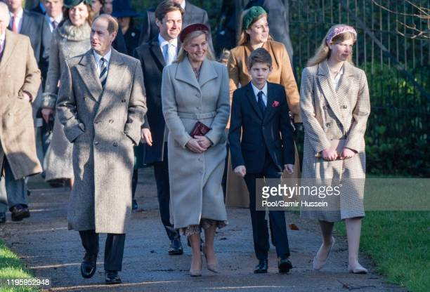 Prince Edward, Earl of Wessex and Sophie, Countess of Wessex with James Viscount Severn and Lady Louise Windsor attend the Christmas Day Church...