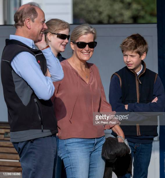 Prince Edward, Earl of Wessex and Sophie, Countess of Wessex with Lady Louise Windsor and James, Viscount Severn during a Great British Beach Clean...