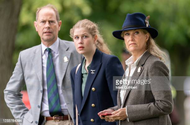 Prince Edward, Earl of Wessex and Sophie, Countess of Wessex with Lady Louise Windsor watch the Carriage Driving during the Royal Windsor Horse Show...