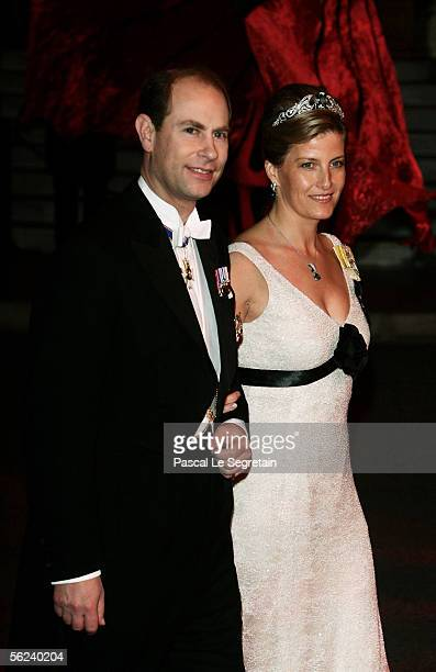 Prince Edward Earl of Wessex and Sophie RhysJones Countess of Wessex leave the Opera Garnier Gala Night as part of Monaco's National Day celebrations...