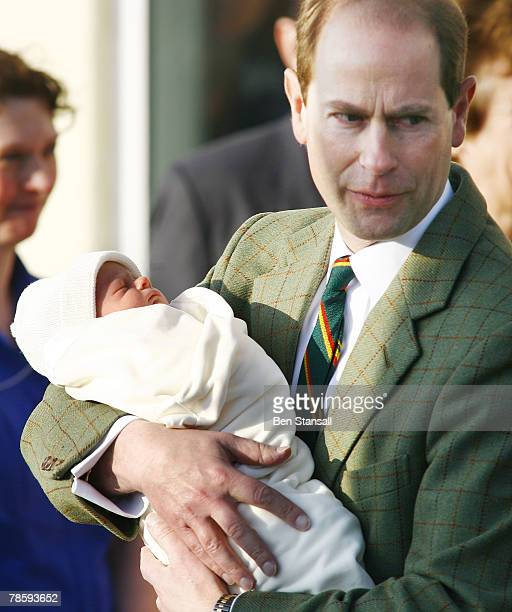 Prince Edward Earl of Wessex and Sophie RhysJones Countess of Wessex leave Hospital with their new baby boy at Frimley Park Hospital on December 20...