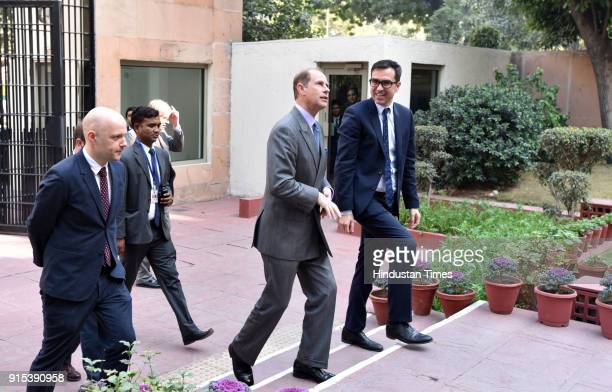Prince Edward Earl of Wessex and the youngest son of Queen Elizabeth II visits the British Council on February 7 2018 in New Delhi India