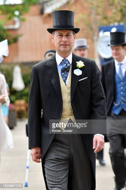 Prince Edward, Earl of Wessex arrives at Royal Ascot 2021 at Ascot Racecourse on June 16, 2021 in Ascot, England.