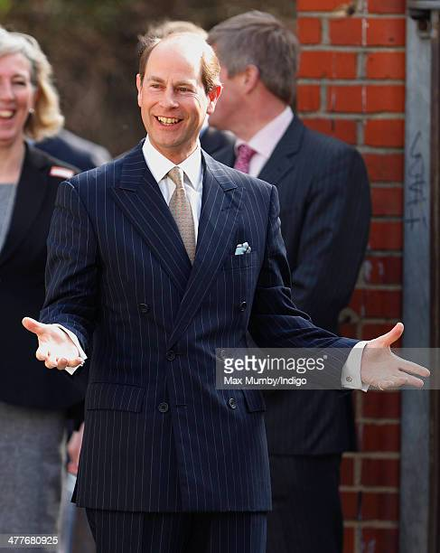 Prince Edward Earl of Wessex arrives for a visit on his 50th Birthday to the Robert Browning Primary School Walworth on March 10 2014 in London...