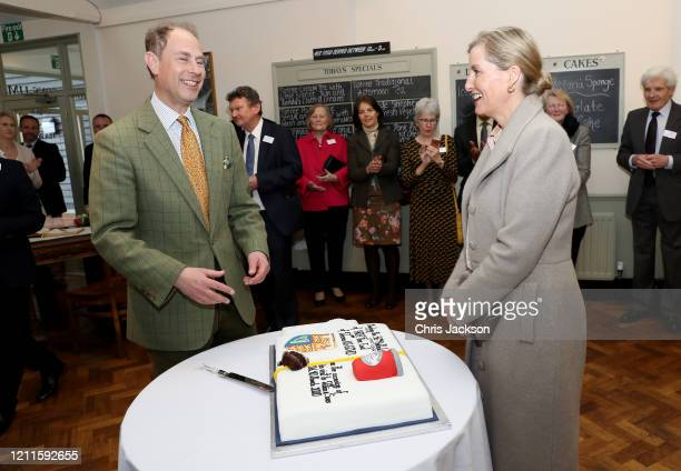 Prince Edward Earl of Wessex as he cuts a cake celebrating his 56th birthday during a visit to Tiptree Jam Factory with Sophie Countess of Wessex on...