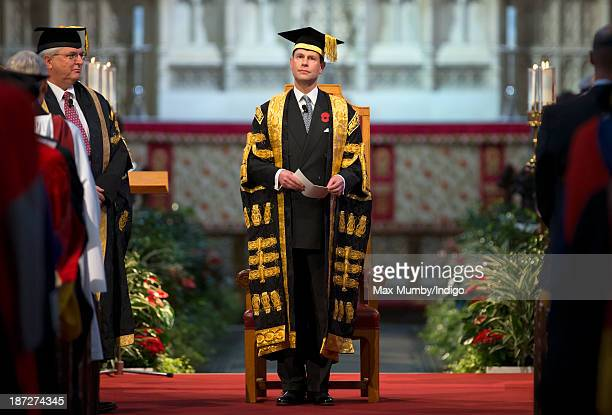 Prince Edward Earl of Wessex attends a service at Bath Abbey during which he was installed as Chancellor of the University of Bath on November 7 2013...