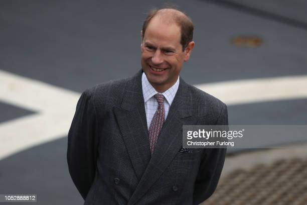 Prince Edward Earl of Wessex attends an onwater capability demonstration by Royal Marines and HNLMS Zeeland's Marines company watched by King...