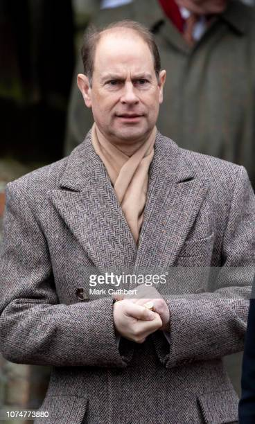 Prince Edward Earl of Wessex attends Christmas Day Church service at Church of St Mary Magdalene on the Sandringham estate on December 25 2018 in...