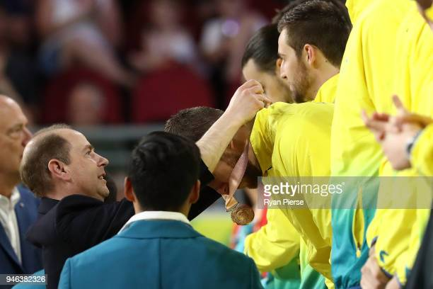 Prince Edward Earl of Wessex attends the medal ceremony for the Men's Gold Medal Basketball Game between Australia and Canada on day 11 of the Gold...