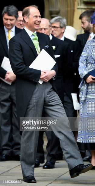 Prince Edward, Earl of Wessex attends the wedding of Lady Gabriella Windsor and Thomas Kingston at St George's Chapel on May 18, 2019 in Windsor,...