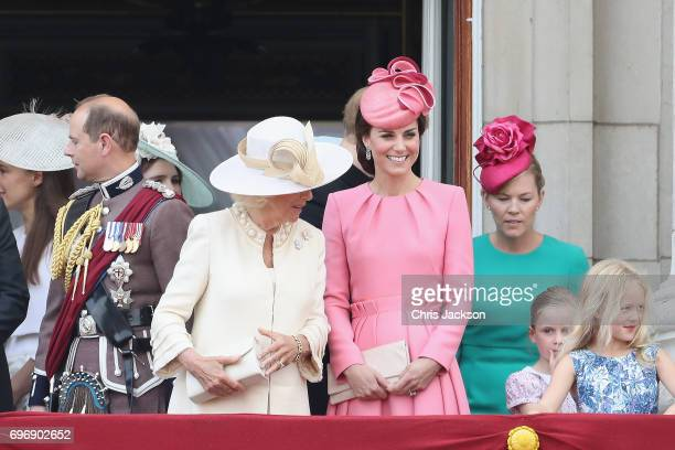 Prince Edward Earl of Wessex Camilla Duchess of Cornwall Catherine Duchess of Cambridge Autumn Phillips and Savannah Phillips look out from the...