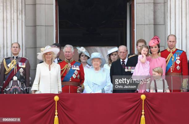 Prince Edward Earl of Wessex Camilla Duchess of Cornwall Prince Charles Prince of Wales Princess Eugenie of York Queen Elizabeth II Princess Beatrice...