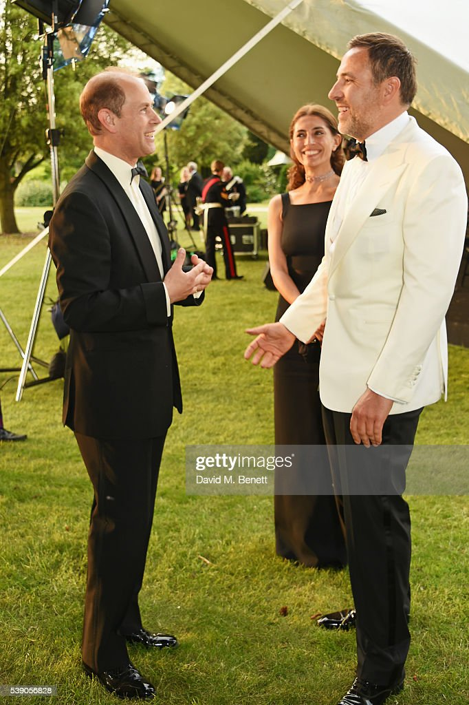 Prince Edward, Earl of Wessex, Caterina Murino and David Walliams attend the Duke of Edinburgh Award 60th Anniversary Diamonds are Forever Gala at Stoke Park on June 9, 2016 in London, England.