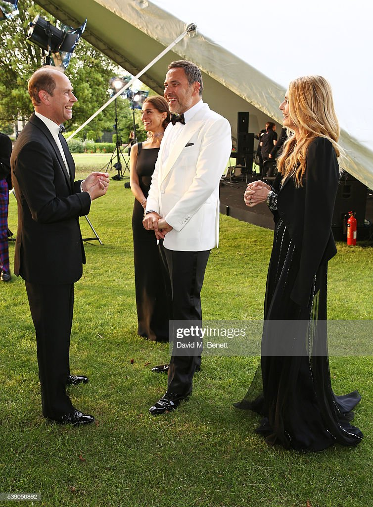 Prince Edward, Earl of Wessex, Caterina Murino, David Walliams and Maryam d'Abo attend the Duke of Edinburgh Award 60th Anniversary Diamonds are Forever Gala at Stoke Park on June 9, 2016 in London, England.