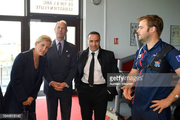 Prince Edward Earl Of Wessex Countess Of Wessex and Director of INSEP Ghani Yallouz arrive for a visit at INSEP on October 2 2018 in Paris France...