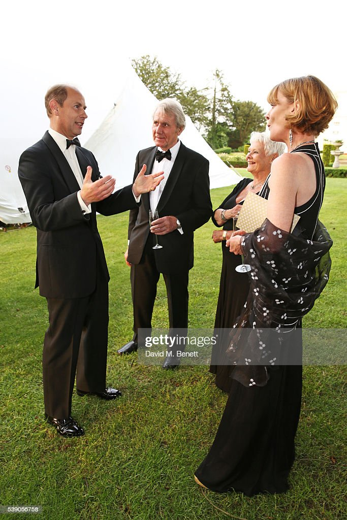 Prince Edward, Earl of Wessex, David Mills, Dame Judi Dench and Samantha Bond attend the Duke of Edinburgh Award 60th Anniversary Diamonds are Forever Gala at Stoke Park on June 9, 2016 in London, England.