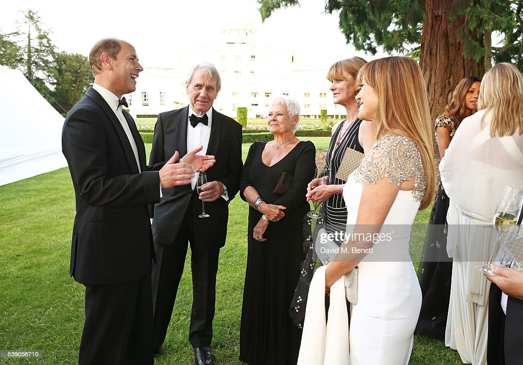 Prince Edward, Earl of Wessex, David Mills, Dame Judi Dench, Samantha Bond and Jane Seymour attend the Duke of Edinburgh Award 60th Anniversary Diamonds are Forever Gala at Stoke Park on June 9, 2016 in London, England.